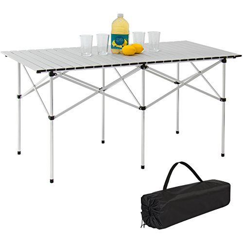 Best Choice Products 55in Portable Roll-Up Aluminum Table for Camping, Outdoor Cooking, Picnics w/Carrying Bag - Silver
