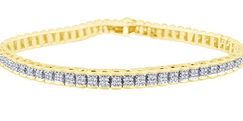 Railroad Bracelet In 14k Yellow Gold Over Sterling Silver 0.75 CT Round Cut White Natural Diamond 8.5