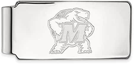 14k White Gold LogoArt Official Licensed Collegiate University of Maryland (UM) Money Clip