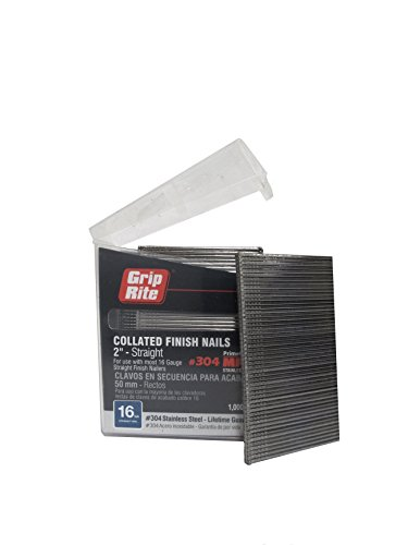 (Grip Rite Prime Guard MAXB64873 16-Gauge 304-Stainless Steel Straight Finish Nails in Belt Clip Box (Pack of 1000), 2