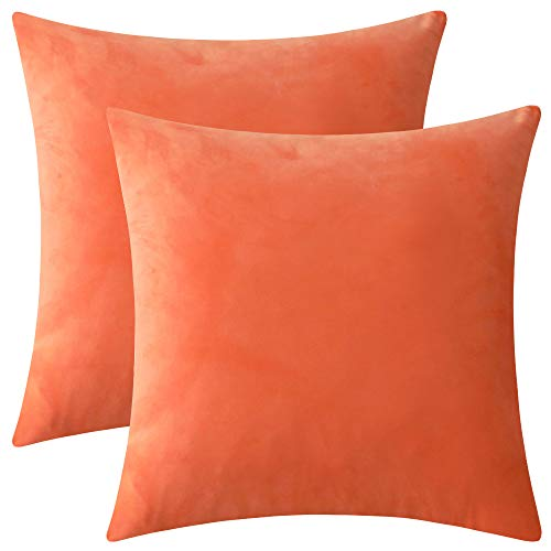 Rythome Set of 2 Comfortable Throw Pillow Cover for Bedding, Decorative Accent Cushion Sham Case for Couch Sofa, Soft Solid Velvet with Zipper Hidden - 18x18, Bright Orange