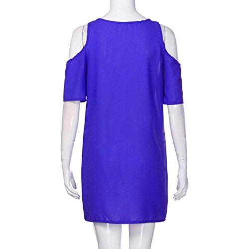 De Manga Verano Familizo Vestidos Tallas Mujer Fiesta Azul vestidos Sin Elegantes Largos Hombro Grandes Gasa Corta rzw6zqxY