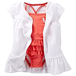 Carter's Little Girls Sweet Apricot Swimsuit Cover-up Set (Newborn, Coral)