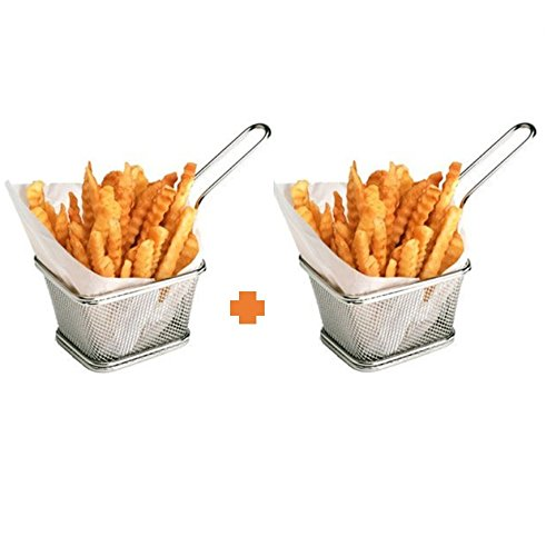 - Stainless Steel Mini French Fries Basket Square Fryer Baskets, FDA Grade Kitchen Cooking Tool Food Presentation Tableware (Small 4inch 2pcs pack)