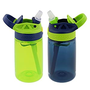 Contigo Kids Autospout Gizmo Water Bottle, 14oz (Chartreuse/Navy Blue) - 2 Pack