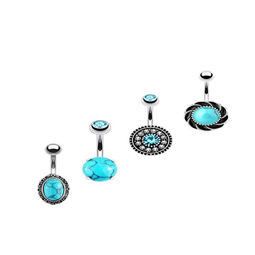 HongWangDZSW 3Pcs Stainless Steel Elephant Dragonfly Tortoise Belly Button Rings for Women Navel Piercing Body Piercing Bar (Blue - Belly Ring Navel Button Dragonfly