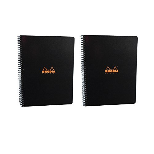 Rhodia Wirebound Notebook 9X11.75 Inches Black Grid (Pack of 2)
