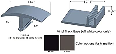 "Johnsonite T-Molding (CD-XX-A) for 1/2"" to 1/2"" Material with Vinyl Track - Choose from Black or Brown"