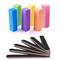 Nail Files and Buffer, TsMADDTs Professional Manicure Tools Kit Rectangular Art Care Buffer Block Tools 100/180 Grit 12Pcs/Pa