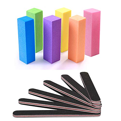 Nail Files and Buffer, TsMADDTs Professional Manicure Tools Kit Rectangular Art Care Buffer Block Tools 100/180 Grit ()