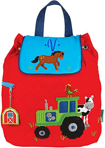 Monogrammed Me Quilted Backpack, Red Boy Farm Tractor, with Embroidered Sweetheart Monogram V