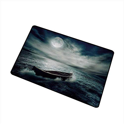 BeckyWCarr Fishing Commercial Grade Entrance mat Boat Drifting in Ocean Full Moon Dramatic Night Sky Life Hope Concept Art for entrances, garages, patios W31.5 x L47.2 Inch,Dark Blue White