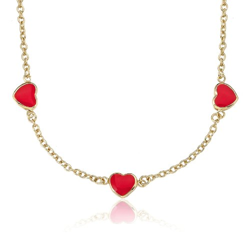 Little Miss Twin Stars 14K Gold Heart Necklace Of Gold Overlay 3 Red Enamel Chain 13 inch plus 3