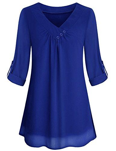 Yidarton Women Chiffon Blouses Roll-up Long Sleeve Top Casual V Neck Layered Tunic Shirt (Blue, Large) - Chiffon V-neck Tunic Top