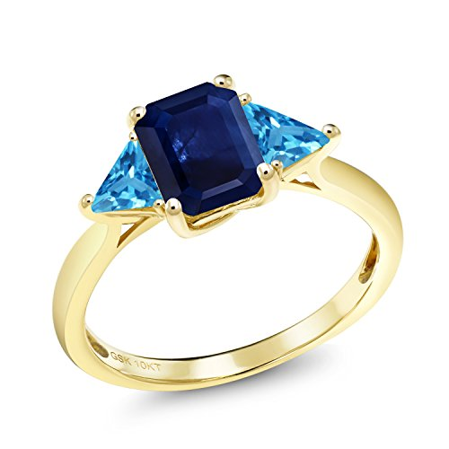 Octagon Blue Sapphire - 1.77 Ct Octagon Blue Sapphire Swiss Blue Topaz 10K Yellow Gold Ring