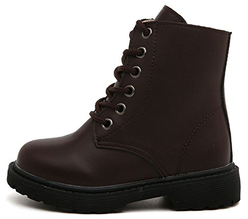 InStar Kid's Chic Ankle High Lace Up Boots With Side Zipper