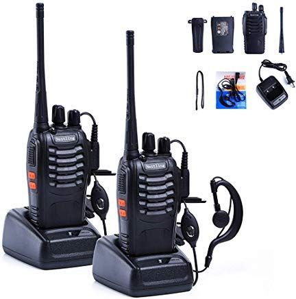 Nestling Rechargeable Long Range Walkie Talkies 2pcs in One Box with Earpieces 16CH Signal Band UHF 400-470MHz Two Way Radios Li-ion Battery Clip and User