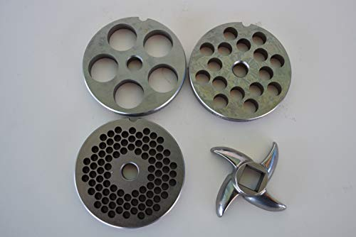 4 pc SET size #12 meat grinder plates and knive for LEM Cabelas Weston etc. 3/4 HP