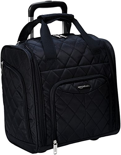 AmazonBasics Underseat Carry On Rolling Travel Luggage Bag - Black Quilted (Luggage Travel Rolling)