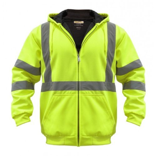 Utility Pro Uhv425 Polyamide High Vis Hooded Soft Shell Jacket With Side Pockets With Dupont Teflon Fabric Protector  Lime  X Large By Old Toledo Brands