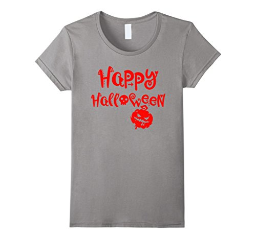Womens Happy Halloween - Smiley Face Scary Pumpkin - Easy Costume Small Slate