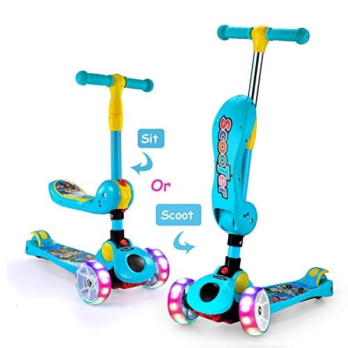 AOODIL 2-in-1 Kick Scooters for Kids Toddler 3 Wheel Scooter for Boys&Girls –Kids Scooter with...
