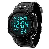 JOYSAE Men's Digital Sports Watch LED Large Face Military Waterproof Watches, Army Alarm Stopwatch, Casual Luminous Wrist Watch - Black