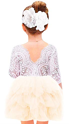 (2Bunnies Girl Beaded Peony Lace Back A-Line Tiered Tutu Tulle Flower Girl Dress (Ivory 3/4 Sleeve Short,)