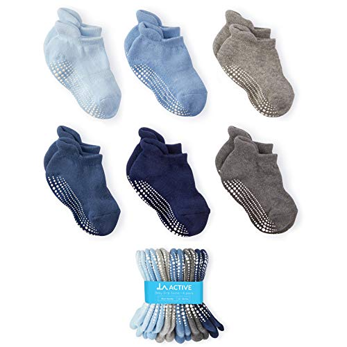 LA Active Baby Toddler Grip Ankle Socks - 6 Pairs - Non Slip/Skid Covered (Boys, 6-12 Months)