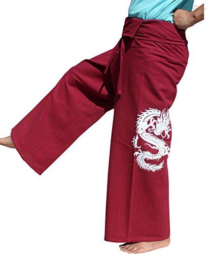 RaanPahMuang Warm Cotton Fisherman Wrap Pants Screen Print Fire Dragon Tall, Small, Dark Red