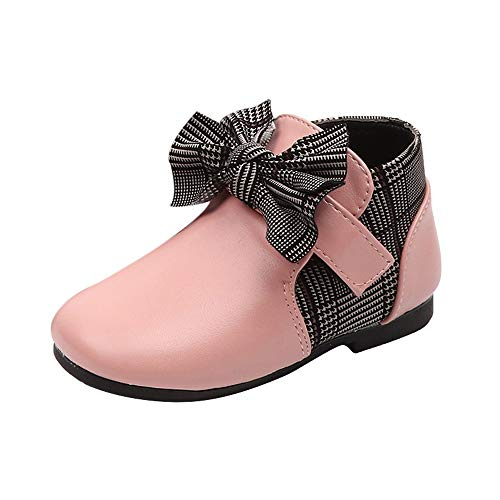 (Infant Baby Toddler Girls Princess Shoes Kids Leather Bowknot Martin Boots Student Casual Shoes for 1-6 Years Old (12-18 Months, Pink))