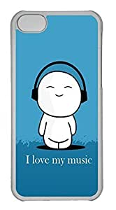 Personalized Custom I Love Music for iPhone 5C PC Transparent Case
