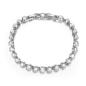 QIANSE Tennis Bracelet Clear Swarovski Crystals Fashion Jewelry for Women Girls Birthday Gifts for Girls Women Girlfriend Wife Daughter Mom Sister Anniversary Gifts for Her