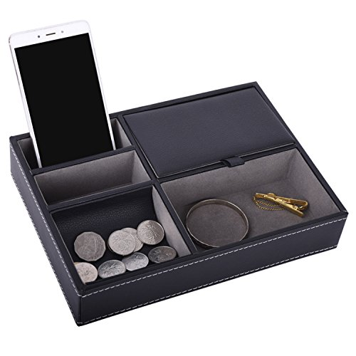 (Autoark Leather 5 Compartments Valet Tray - Desktop Organizer for Keys,Coins,Wallet,Smartphone,Watches,Sunglasses and Accessories,Black,AW-028)