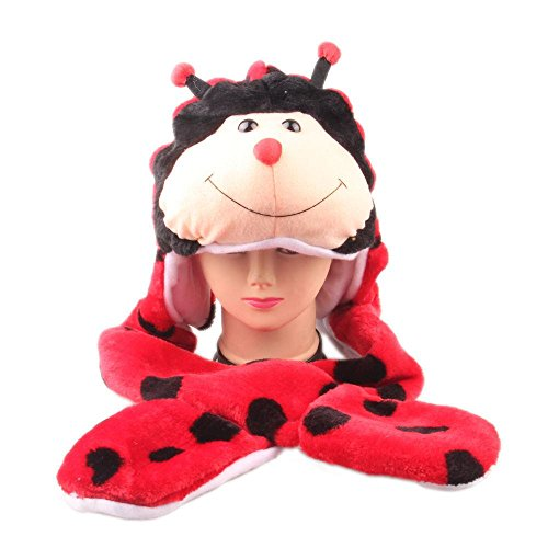 [Ladybug_(US Seller)Animal Hat Winter Hat Fluffy Warm Cap Mittens Scarf] (Thailand National Costume For Girls Kids)