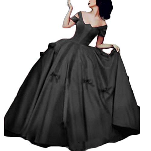 8cb48c65b4ce Ainisha Women's Princess Burgundy Satin Ball Gown Quinceanera Dress Ball  Gown Wedding Dress Off Shoulder Evening Prom Gowns Black,6