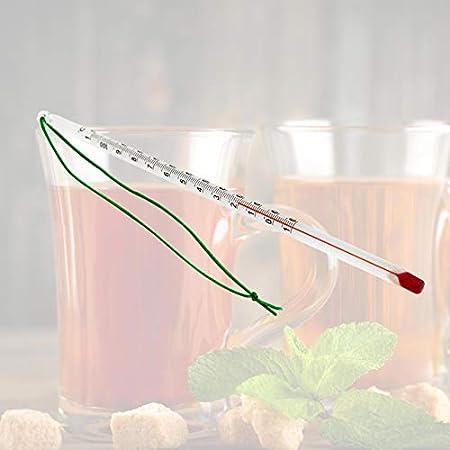 Lantelme Termómetro de té Termómetro de Vidrio para té de 24 cm Rango de Temperatura hasta 110 °C Termómetro de Vidrio para Agua de té analógico 4090