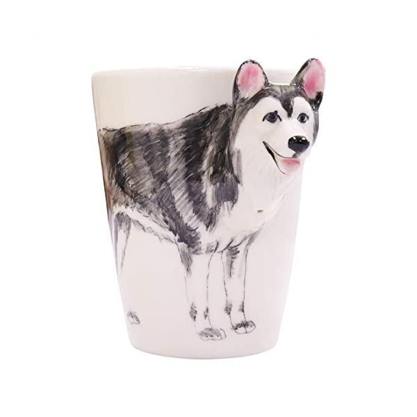 WEY&FLY 3D Coffee Dog Mug, Animals Personalized Tea Cup, Creative Hand Painted 3D Dog Mug, Gift for Lovers Kids Friends (Siberian Husky) 2
