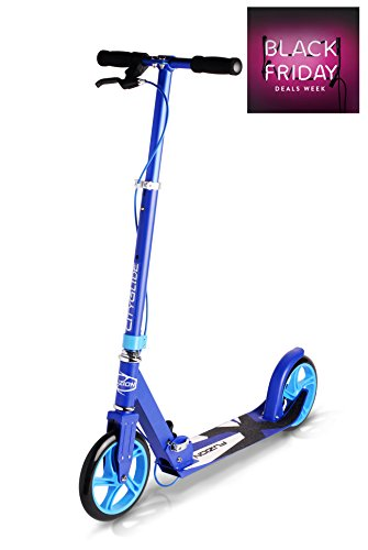 Fuzion-Cityglide-B200-Adult-Kick-Scooter-w-Hand-brake-220lb-Weight-Limit-Folds-Down-Adjustable-Handle-Bars-Smooth-Fast-Ride