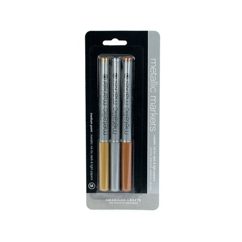 American Crafts Metallic Marker 3-Pack, Medium Point, Gold/Silver/Copper]()