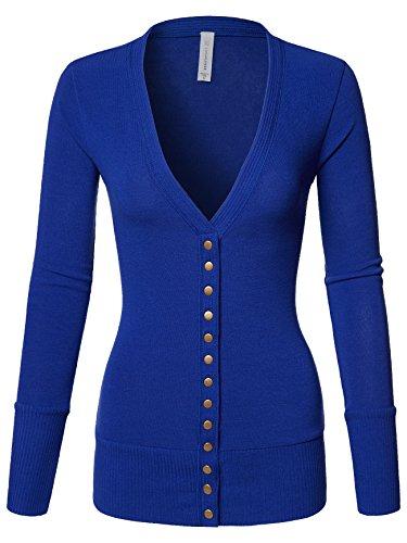 (Luna Flower Women's V-Neck Snap Button Long Sleeve Soft Basic Knit Snap Cardigan Sweater Denim_Blue Large (GCDW027))
