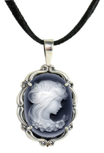 Sterling Silver Vintage Style Large Agate Cameo Pendant with Suede Cord