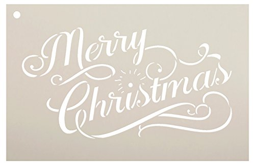 Merry Christmas Stencil by StudioR12 | Elegant Vintage Word Art - Reusable Mylar Template | Painting, Chalk, Mixed Media | Use for Journaling, DIY Home Decor - CHOOSE SIZE (8.5