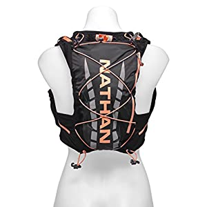 Nathan NS4527 Vaporairess Hydration Pack Running Vest with 2L Bladder, Black/Fusion Coral, Small/Medium