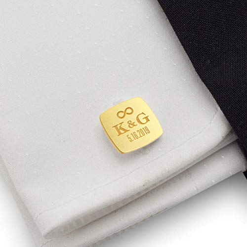 Gold wedding cufflinks for groom - Custom gol cufflinks for groomsmen gifts - Date and Initial 925 Silver 14K gold plated | FREE Gift Messaged, Box | Handmade