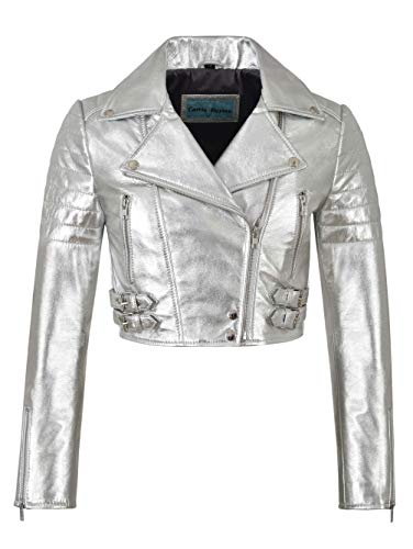 - Ladies Biker Metallic Leather Jacket Cropped Short Body Style Real Lambskin 5625 (8 for Bust 74 cm, Metallic Silver)