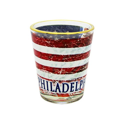 (The Postcard Factory City of Philadelphia Distressed American Flag Shot Glass)