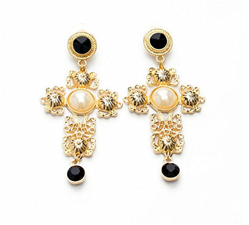 P.phoebus Gold Vintage White Cross Pearl Swarovski Crystal Studs Earrings Black Rhinestones Dangle Charms Hoops For Women - Rhinestone Screw Clip Earrings