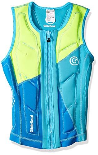 (GlideSoul Women's Flashback 74 Collection Reversible Impact Vest, Blue/L. Blue/Lemon; Inside: L. Blue,)