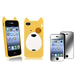 Bloutina Everydaysource Compatible with Apple iPhone 4 / 4S Dog TPU Rubber Case + Mirror Screen Protector